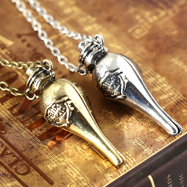 Felix Felicis Potion bottle choker Necklace Silver Gold Plated Alloy Charm Pendant Cosplay Accessories Jewelry Gift