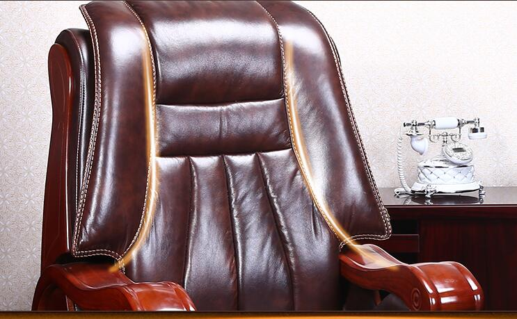 Купить с кэшбэком Real leather luxurious reclining chair. Four-legged computer chair. Fixed armrest leather art office chair.22
