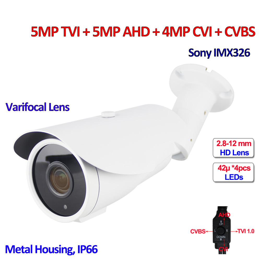 5MP TVI 4MP CVI AHD 960H 4 in 1 surveillance cameras outdoor IMX326 sensor CCTV camera, SMD IR LEDs, IR-CUT, OSD, Varifocal Lens 5mp tvi 4mp ahd cvi imx326 cmos security camera 4in1 surveillance cameras ir cut dnr utc osd varifocal lens smd ir leds