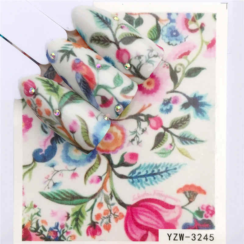 YWK Coloridas Flores/grama Verde/Lavanda Cor de Transferência de Água Decalques Etiqueta Do Prego Beleza Decoração Projetos DIY Ponta Tatuagem