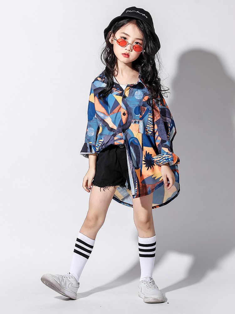Nueva ropa de baile callejero niñas camisa Hiphop coreana niños traje de baile Jazz chicas Hip Hop trajes de marea suelta dos- pieza