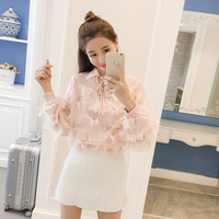 2018 Spring New POLO Bow Tie With Feather Chiffon Long Sleeved Shirt Sleeve Transparent Primer Coat