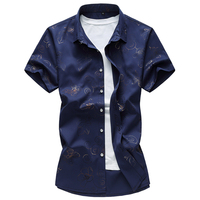 2017 summer new style shirt men's casual fashion printed short sleeved shirts men 100% cotton shirts size M 7XL