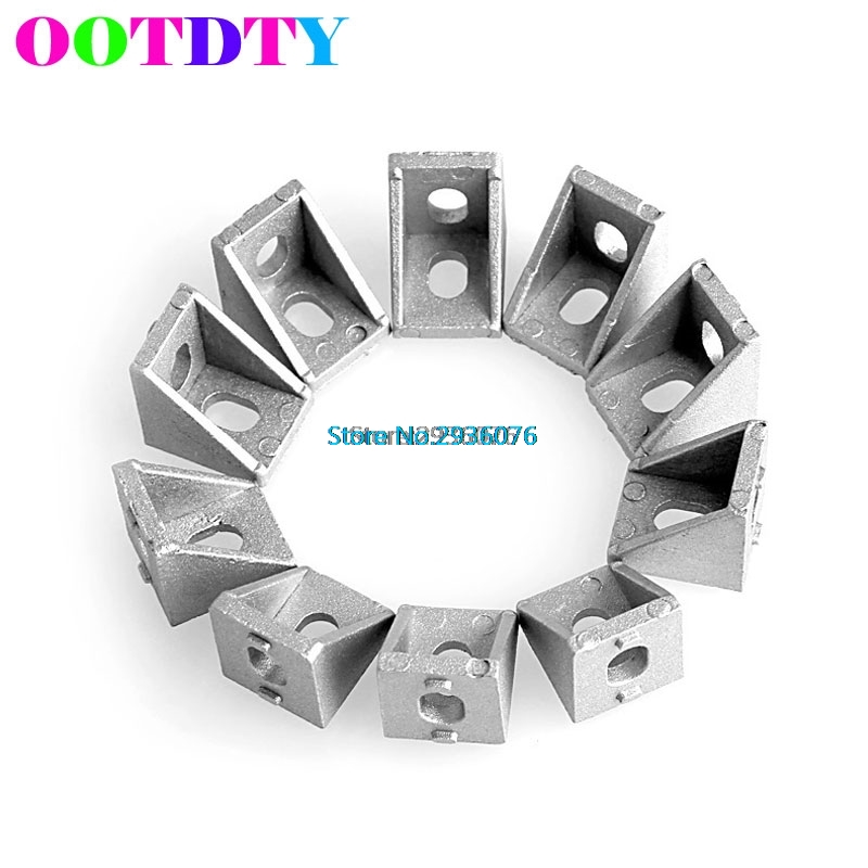 10Pcs/lot Aluminum Brace Corner Joint Right Angle Bracket Joint L Shape 20x20mm 10 pcs lot silver color metal corner brace right angle l shape bracket 20mm x 20mm home office furniture decoration accessories