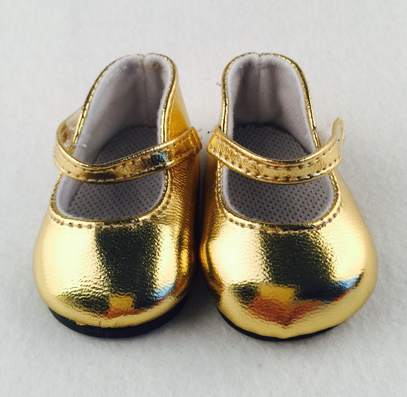 Doll shoes ,Gold leather doll shoes for 18 inch american girl doll for baby gift b383