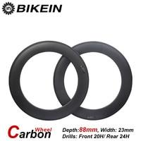 BIKEIN 1 Pair Clincher Tubular 3k Carbon Racing Road Bike Wheels 700C 88mm Depth Matte Glossy