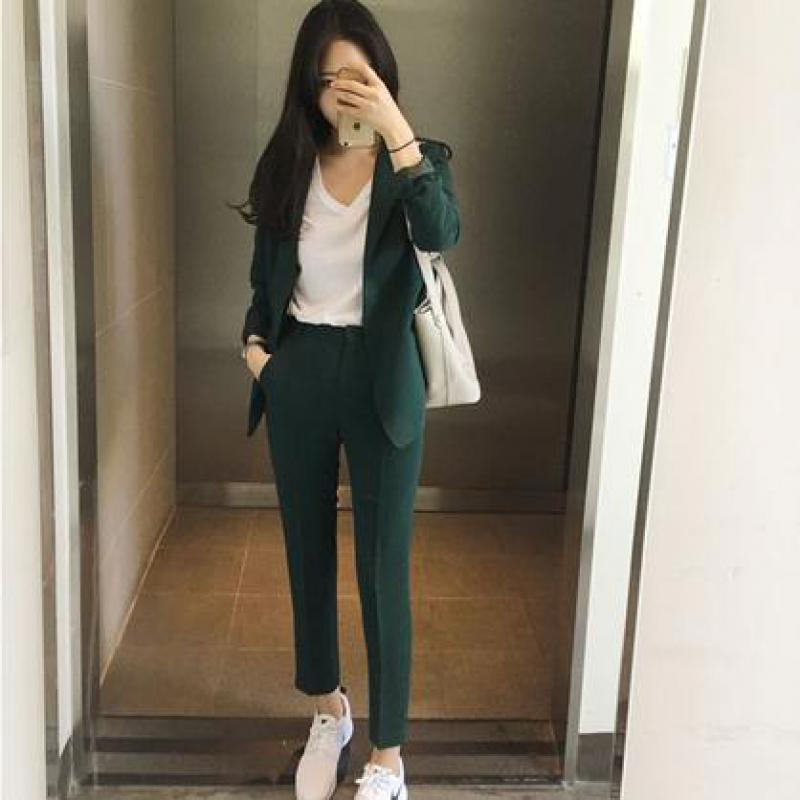 New 2019 Spring Autumn Korean Suit Set Women Long Sleeved Slim Blazer + Pants Suit Ladies Office Wear Work Outfit Casual Clothes