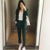 New 2019 Spring Autumn Korean Suit Set Women Long Sleeved Slim Blazer + Pants Suit Ladies Office Wear Work Outfit Casual Clothes