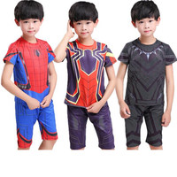 New SpiderMan Black Panther 3D printing Children Cosplay Costumes kids Short Sleeve Shorts Quick Drying Clothes High Quality