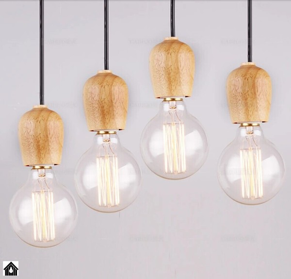 Free Shipping Discount Cheapest Wood Holder Fabric Wire E27 CE Or E26 UL Edison Pendants 10pcs