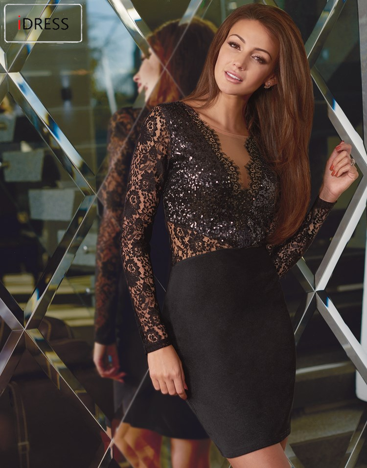 Cheap black lace dress long sleeve