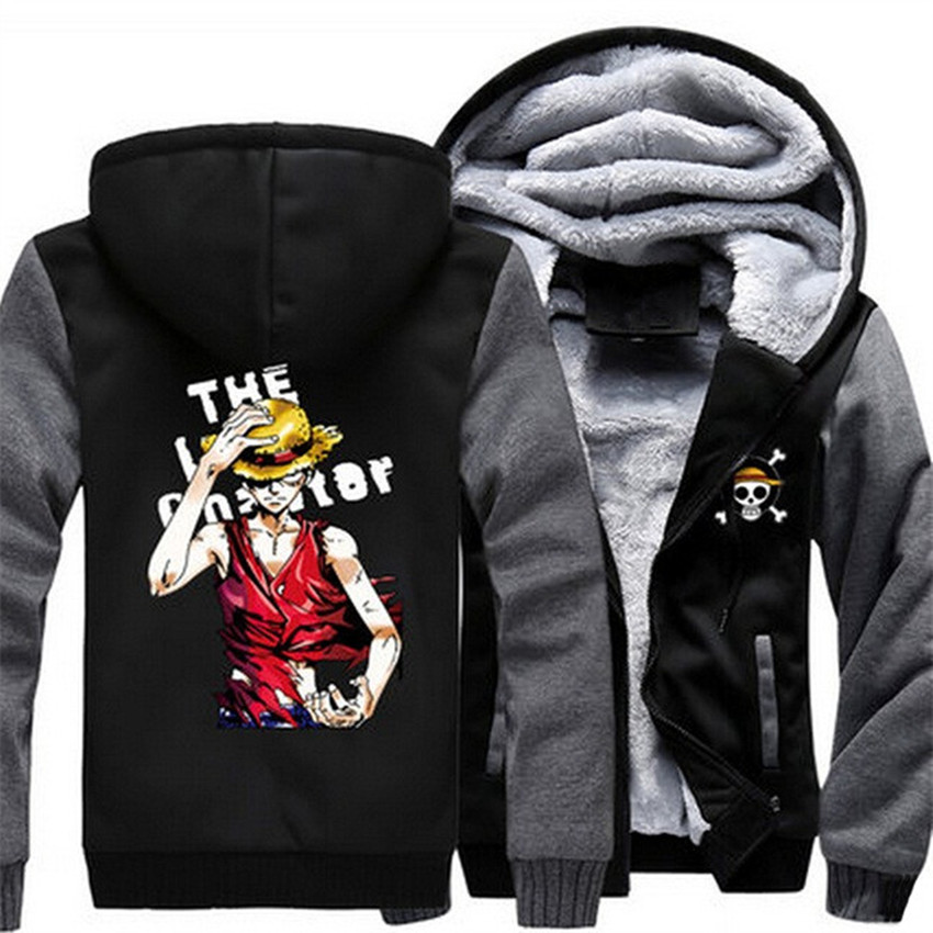 Hoodies & Sweatshirts Us Size Men Hoodies Anime One Piece Portgas D Ace Monkey D Luffy Cosplay Zipper Jacket Thicken Hoodie Coat Clothing Casual