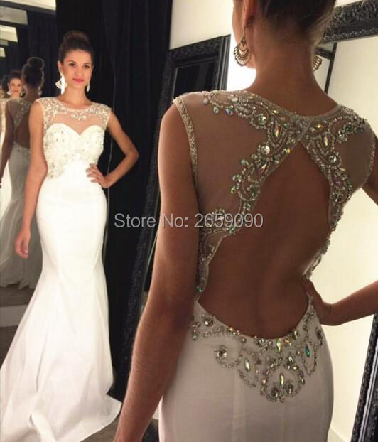 Charming White Beading Prom Dresses Long white Sexy Backless Prom Party  Dress Formal Gowns For women dress custom l1723 46d87ac77bc0