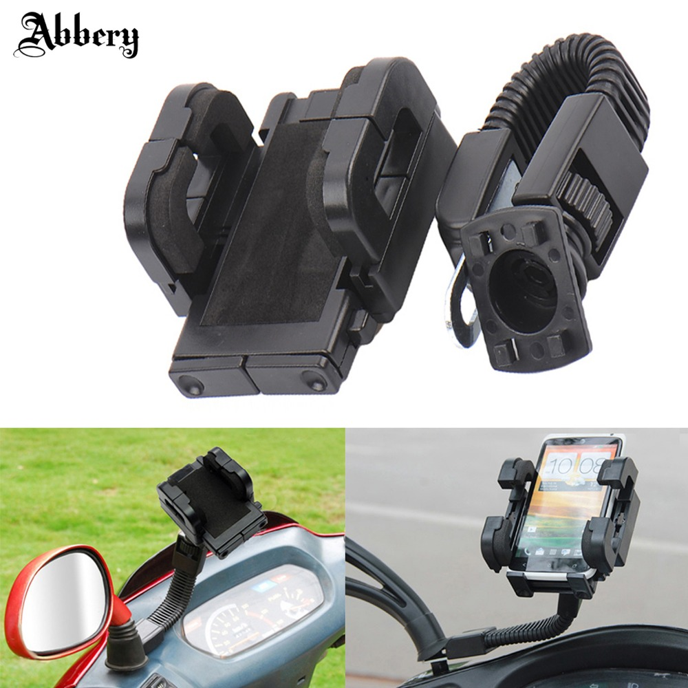 Abbery 360degree Rotation Motorcycle Holder Stand Mount Bracket For Mobile Phone PDA GPS Navigation Rearview Mirror Mount Holder