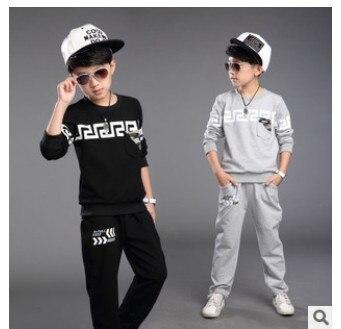 Childrens Wear Autumn Suit for Boys In Korean Children Sports Suit Kids Clothing Set Grey Black