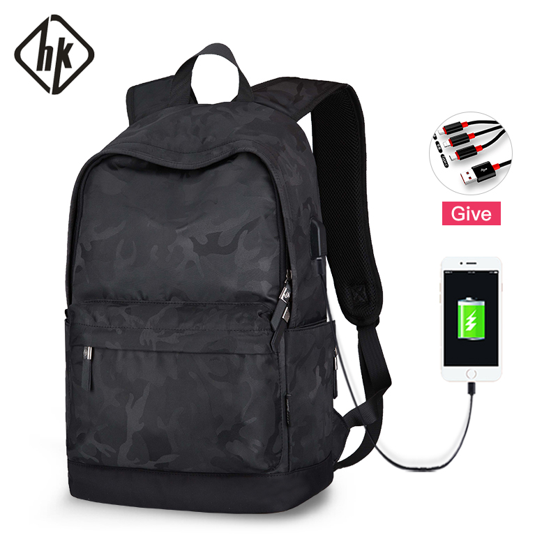 Hk Men's 15 Inch USB-laptop Backpack Computer Male School Small Backpacks Oxford Leisure For Young Travel Women Shoulder Mochila