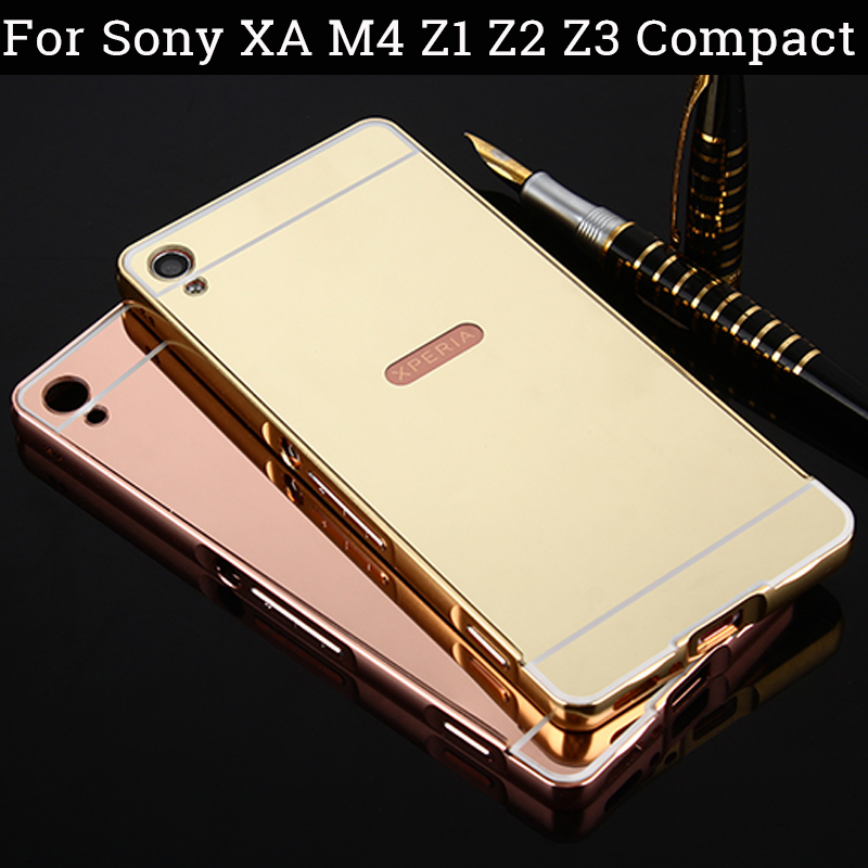 For M4 XA Case For Sony Xperia Z3 Compact Case Sony Xperia Z1 Compact Cases Z2 Z4 Z5 Aluminum Frame + Mirror Acrylic Back Case