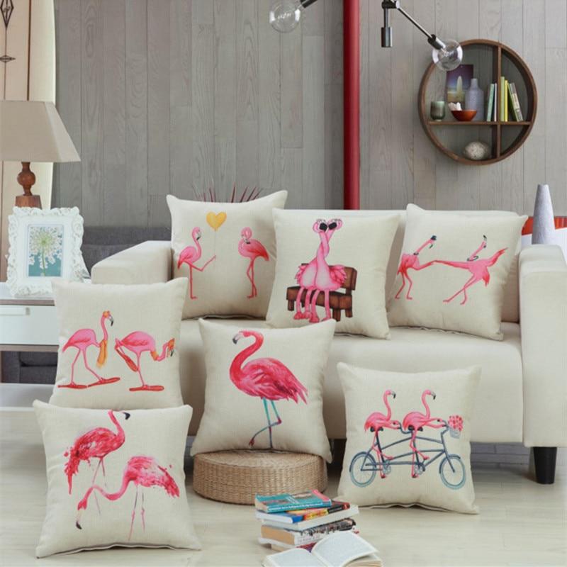 Loved flamingos Printed Cotton Linen Sofa Cushion Cover 45x45cm/17.7x17.7 Throw Decorative Home Wedding Car Seat Pillow Case