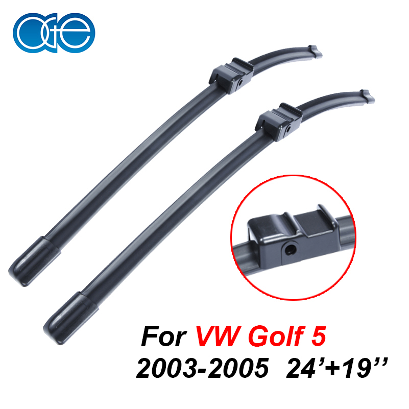 Prix pour OGE Essuie-glaces Pour VW Golf 5 2003 2004 2005 Paire 24 ''+ 19'' Caoutchouc Bracketless Pare-Brise Lames Promotions voiture Accessoires CPA108