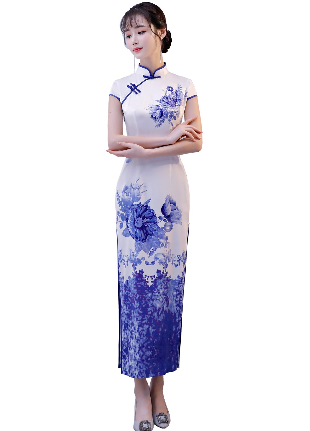Shanghai Story National Trend Dress Chinese traditional dress Chinese Oriental dress Long Cheongsam with Lining Qipao