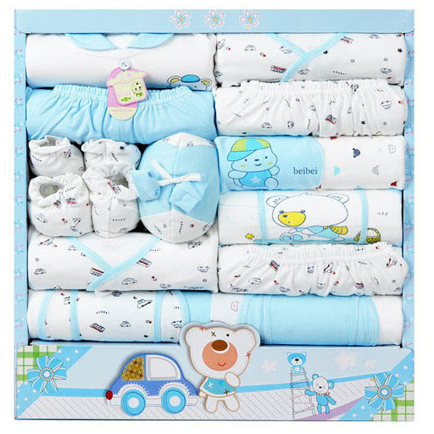 (15Pcs/Set) High Quality 100% Cotton Newborn Baby Clothing Gift Sets Infant Cute Suit Baby Girls Boys Clothes  Xmas Gift