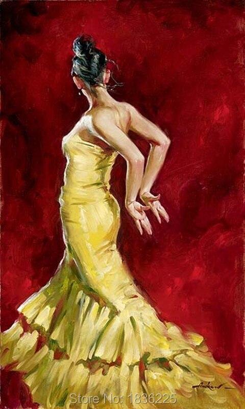 Ручная роспись холст картины маслом Современная Африканская женщина абстрактные картины маслом рисунок африкаин танцор девушка настенный... - 5
