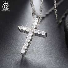 Lead &Nickel Free Necklace Silver Color Cross Pendant Necklace with AAA Austrian Cubic Zirconia