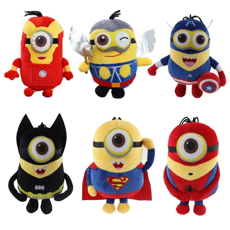 Minion  Cosplay The Avengers SuperHero 20cm Spiderman & Superman & Batman & Captain America & Ironman & Thor Action Figure Toys