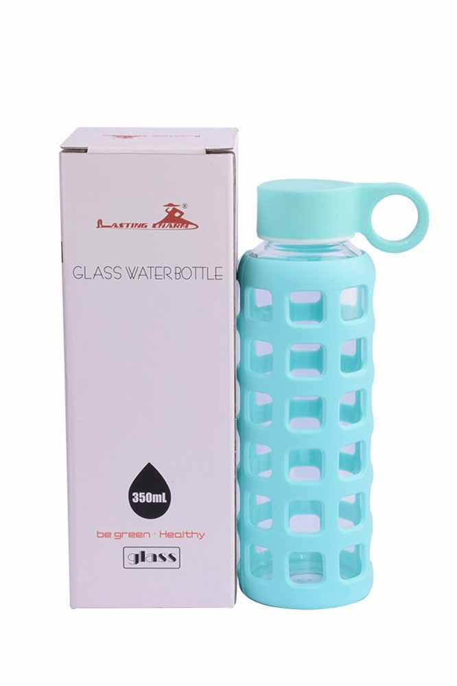 Premium Glass Water Bottle With Silicone Sleeve & Stainless Steel Lid Insert, 12OZ