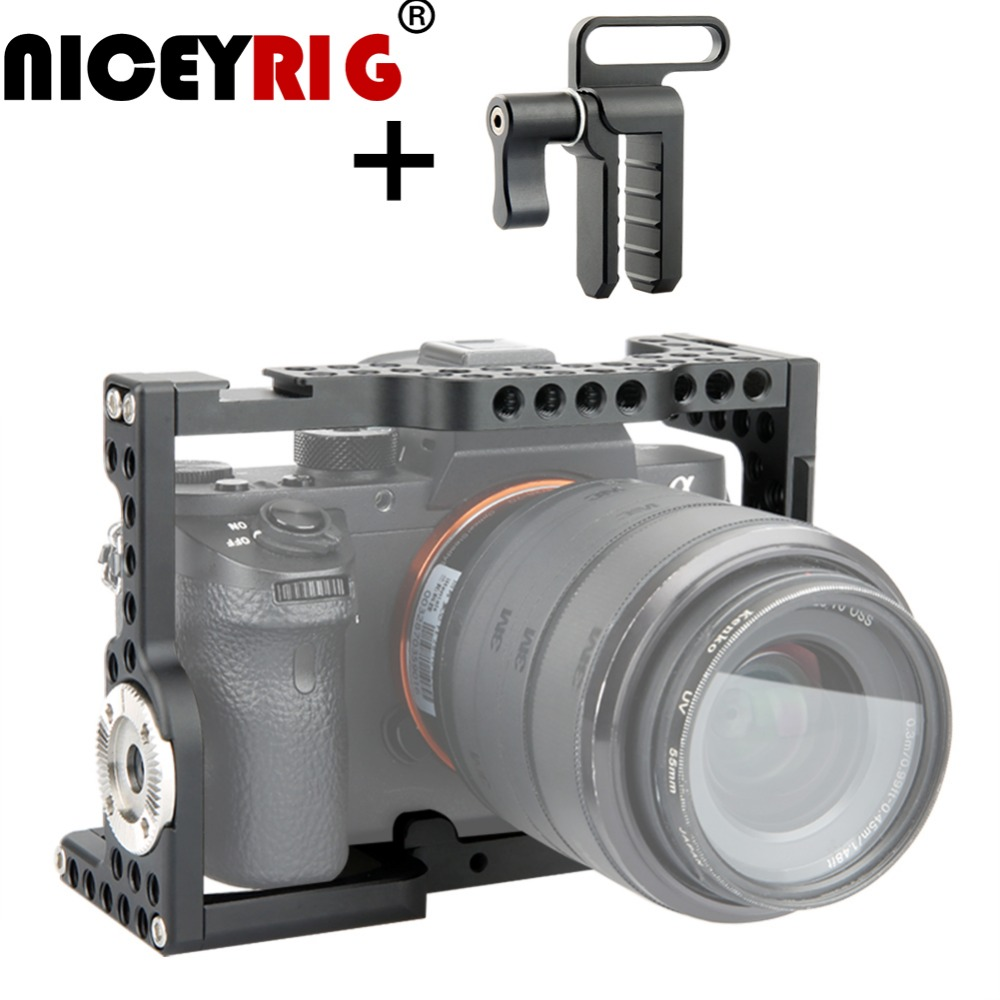 NICEYRIG DSLR Support Caméra Cage pour Sony A7MIII a7m3 A7RIII a7r3 A7RII a7r2 A7SII a7s2 A7II A7S A7R A7 dslr Rig Rail Caméra-in Cage pour caméra from Electronique    1