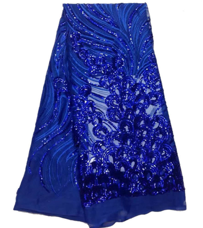 New Arrival African Guipure Material Royal Blue Black Nigeria French Lace Chemical Fabric High Quality Sequins