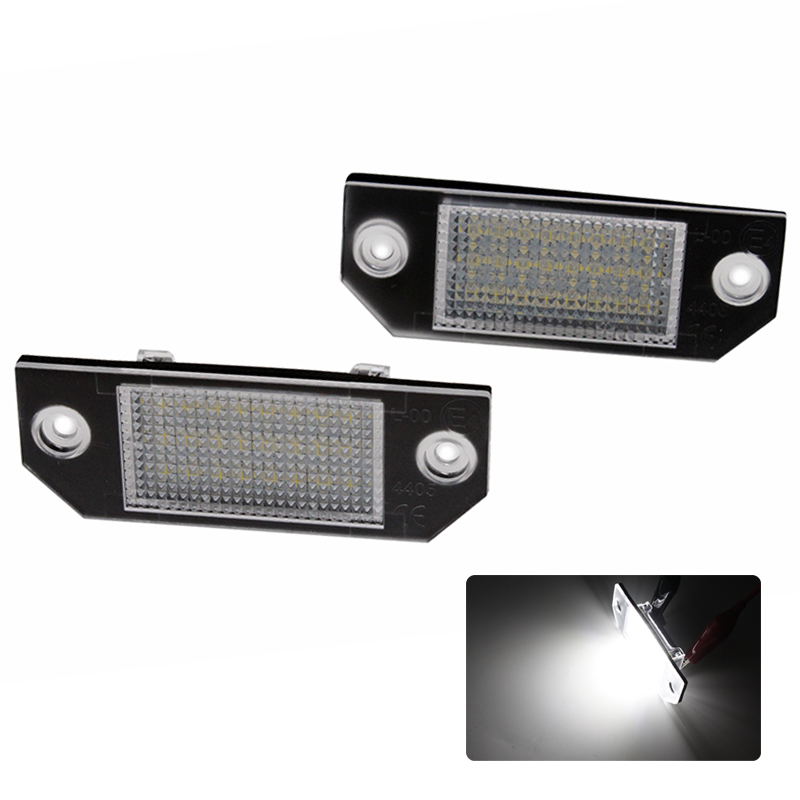 2pcs/lot 12V 18 LED SMD Car License Plate Light Number Plate Lamps for Ford Focus C-MAX MK2 03-08 2pcs car led license number plate light lamp 6w 12v 24 led white light for ford focus 2 c max