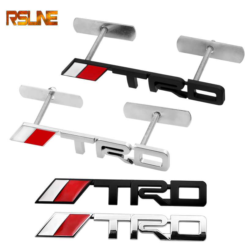 Metal TRD Car Front Hood Grille Badge Rear Emblem Car Tail Sticker For Toyota CROWN REIZ COROLLA Camry Car Styling Accessories
