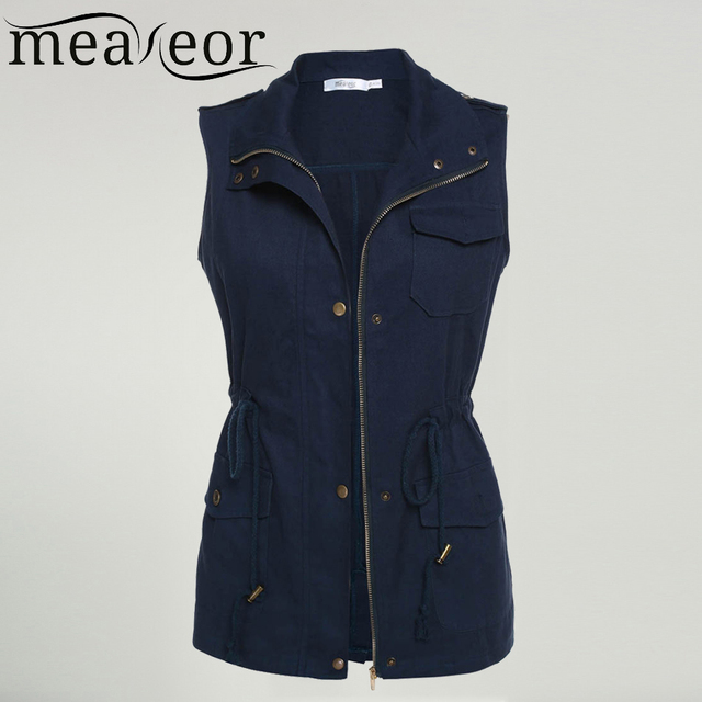 Meaeor Brand Women Vest Coat 2017 Autumn Spring Sleeveless  Vest Jacket Casual outwear coats Top Black,Army Green,Navy blue