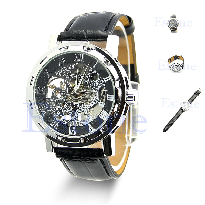 Free delivery Classic Men's Black Leather Skeleton Dial Mechanical Army Wrist Watch Sport hcandice perfect gift men s classic black leather gold dial skeleton mechanical sport army wrist watch jan3 17