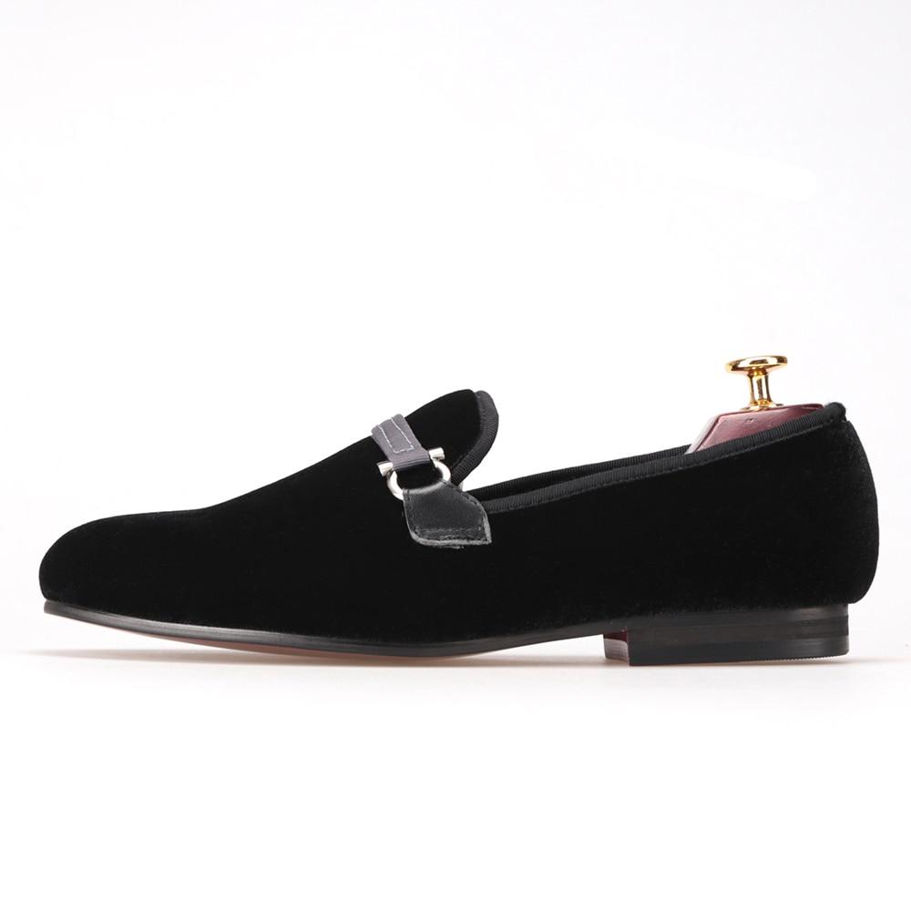 Preto Veludo Sapatos 17 Da Fumar Eua 4 Homens Moda Fivela Chinelo E De Festa Flats Artesanato Tecido Mocassins Tamanho Plus Size pXqRxYwI