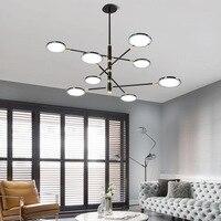 Pós moderna conduziu a iluminação do candelabro 72 w 96 rotatable preto pendurado lâmpada para sala de estar restauranat interior casa deco lustres