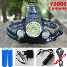 10000Lm CREE XML T6+2R5 LED Headlight Headlamp Head Lamp Light 4mode torch +2×18650 battery+EU/US Car charger for fishing Lights