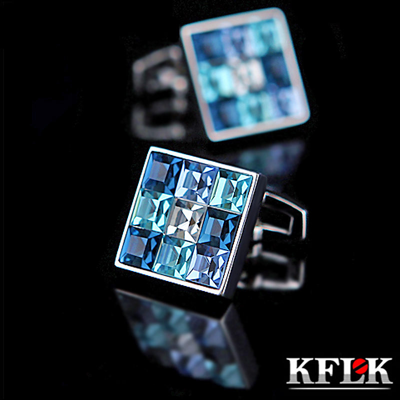 KFLK Jewelry Shirt Cufflink For Mens Brand Fashion Blue Crystal Cuff Link Luxury Wedding Groom Button High Quality Free Shipping