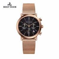 Риф Тигр/RT Роскошный хронограф для Для мужчин ультра тонкий полный розовое золото Тон наручные часы с датой RGA162