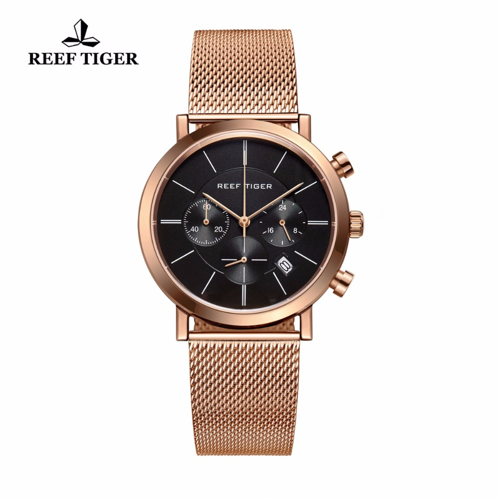 Reef Tiger/RT Luxury Chronograph Watch for Men Ultra Thin Full Rose Gold Tone Wrist Watches with Date RGA162 все цены