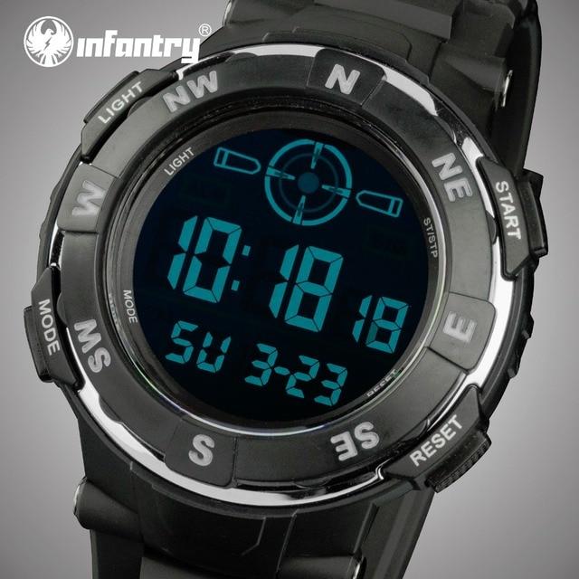 INFANTRY Digital Watches Men Sports 30M Waterproof LED Large Dial Quartz Watches Military Luminous Chronograph Wristwatches
