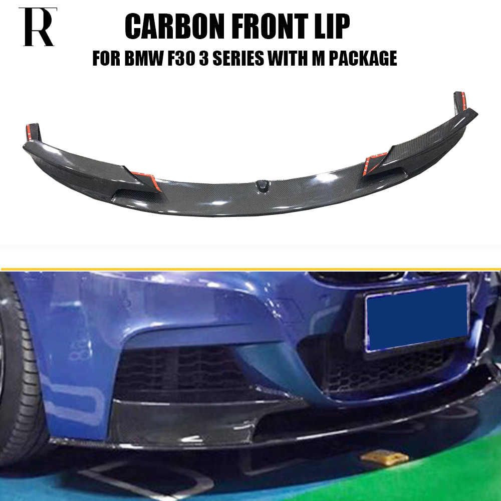 F30 P Style Carbon Fiber Front Bumper Lip Chin Spoiler for BMW F30 3 Series 320i 328i 335i 328d 4DR with M Package 2012 - 2018