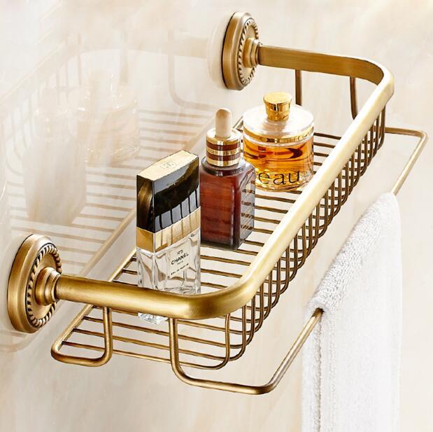 High quality total brass material antique brass bathroom shelves with towel bar bathroom shampoo holder bathroom accessories цена и фото