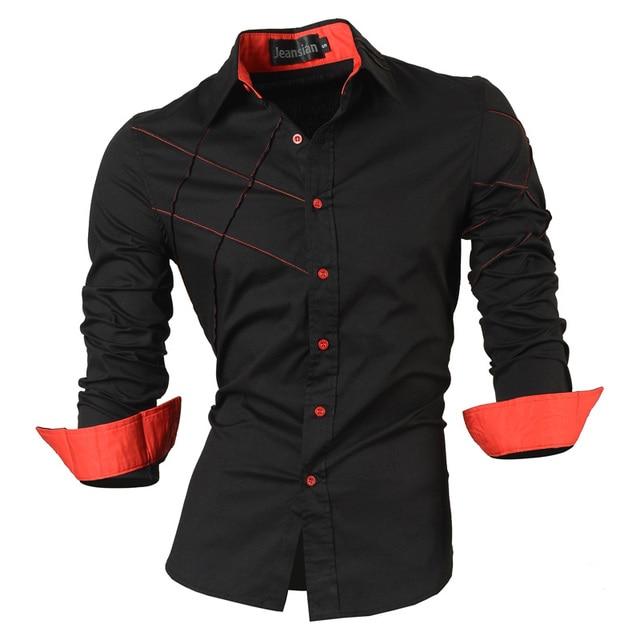 を jeansian 春秋特徴シャツ男性カジュアルジーンズシャツ新着長袖カジュアルスリムフィット男性シャツコレクション