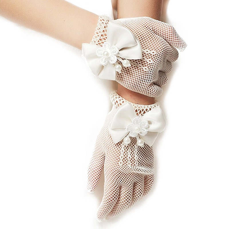 Gloves Girls Lovely Mesh Princess Gloves Lace Short Dress Bow-knot Etiquette Gloves Wrist Length White, 1 Pair