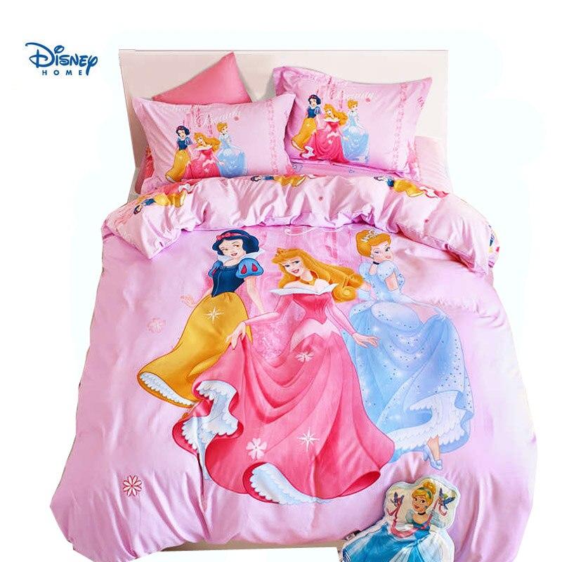 Disney blanche des neiges 3d couvre lit simple double reine taille princesse rose fille cadeau couette literie bébé drap ensemble taie d'oreiller