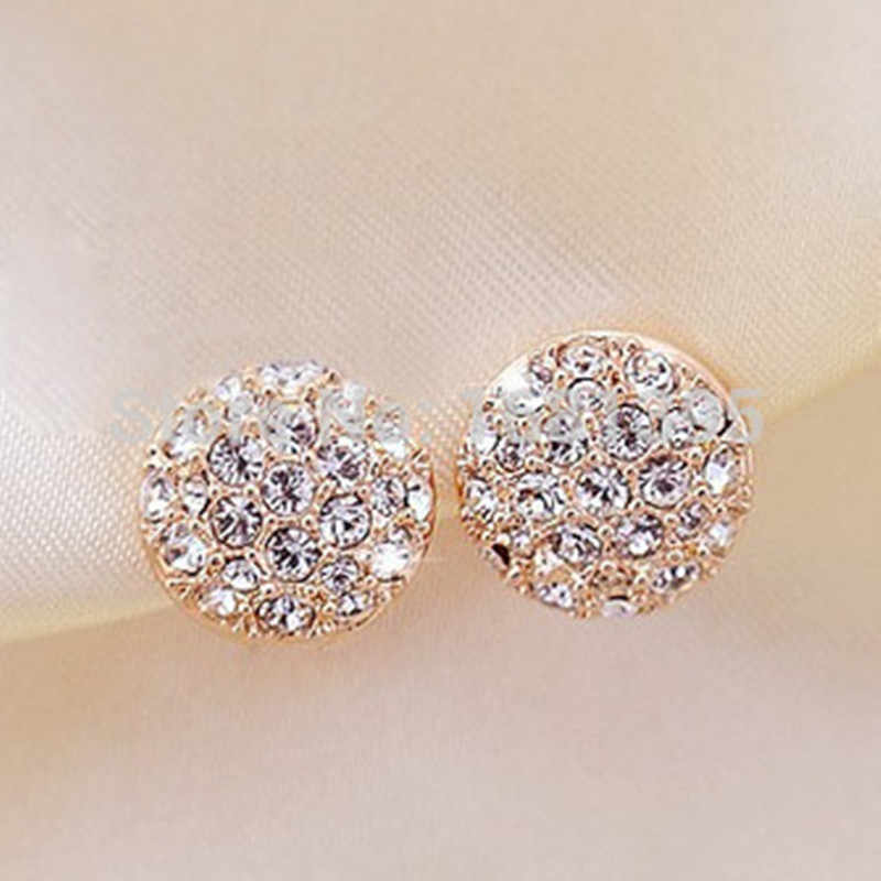Elegant Gorgeous Rhinestone Zircon Round Stud Earrings for women 4ED388