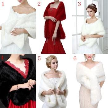 mejor servicio 7f994 10bbb Mezcla blanco negro Borgoña nupcial boda capa estola piel de imitación chal  abrigo mujer Bolero encogimiento de hombros abrigo accesorios de boda