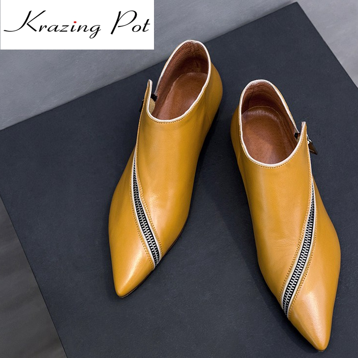 Krazing Pot 2018 cow leather lazy style zipper decoration European designer thick low heels pointed toe women ankle boots L96 2017 krazing pot new women pumps slip on cow leather med heels solid pointed toe princess style european designer nude shoes l29